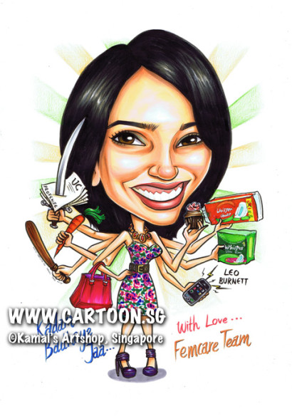 2013-10-29_Indian-Goddess-with-many-hands-Durga-Caricature-Gift-busy-executive