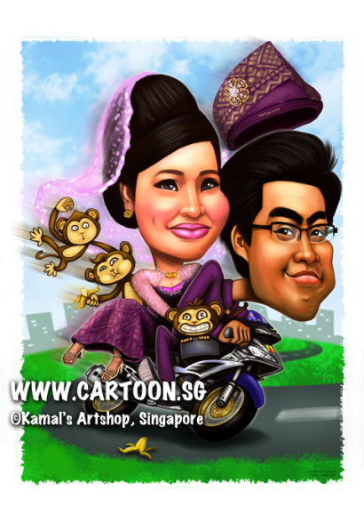 2014-01-06-caricature-singapore-malay-wedding-motorbike-purple-crazy-monkeys-banana-love-sweet-couple-digital-painting