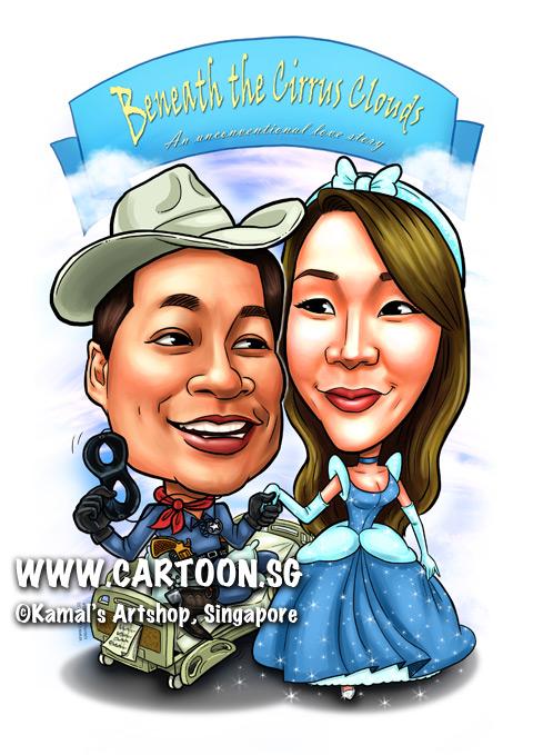 2014-01-07-caricature-singapore-couple-digital-cirrus-cloud-sky-hospital-bed-riding-lone-ranger-cinderella-princess-disney-gun-boots-mask-hat-cowboy.jpg
