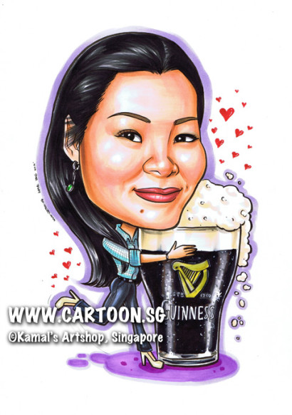 2014-01-21-caricature-singapore-gift-guiness-beer-office-colleague-farewell