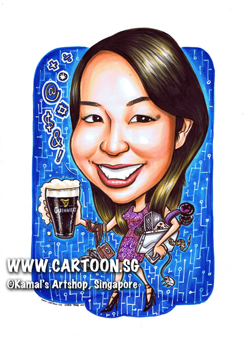 2014-01-21-caricature-singapore-gift-guiness-beer-office-colleague-farewell-pretty-foul-mouthed-digital-geek-camera-notebook-headset-speaker-wires-plug.jpg