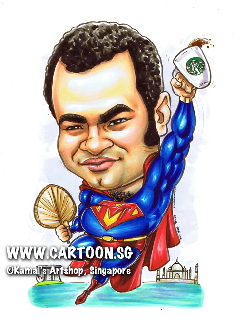2014-02-28-caricature-singapore-funny-superhero-superman-beerbelly-chest-hair-satay-fan-mbs-taj-mahal-india-flying-starbuck-coffee.jpg