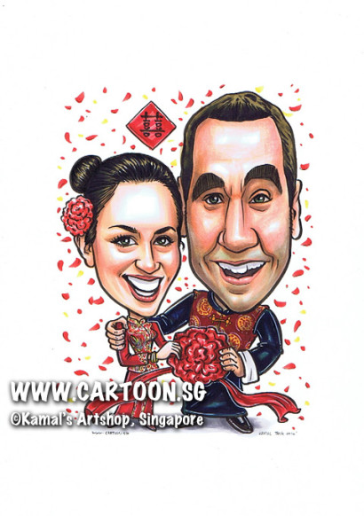 2014-03-20-Singapore-caricature-chinese-wedding-married-farewell-red-happy-love-couple-flower-koa