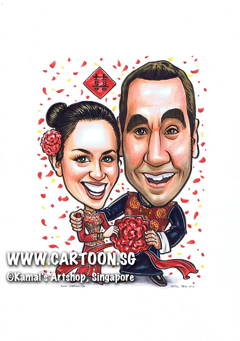 2014-03-20-Singapore-caricature-chinese-wedding-married-farewell-red-happy-love-couple-flower-koa.jpg