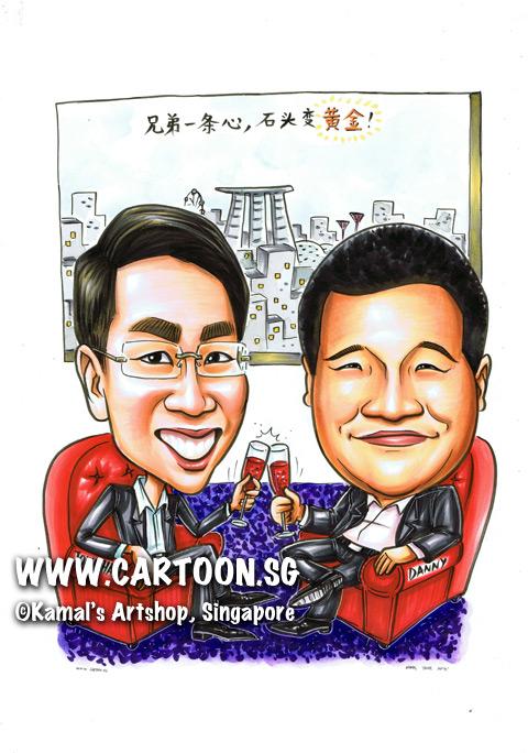 2014-05-21-Caricature-Singapore-gift-China-partner-marina-bay-sand-brotherhood-gold-red-wain-sofa.jpg