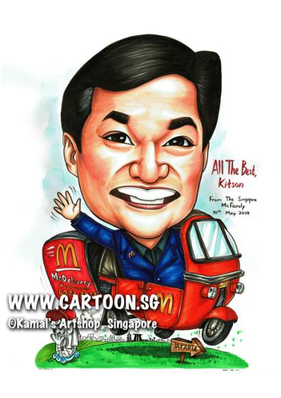2014-05-26-Gift-McDonald-Indonesian-Transport-Bajaj-Delivery-Merlion-Marina-Bay-Sand-Smoke
