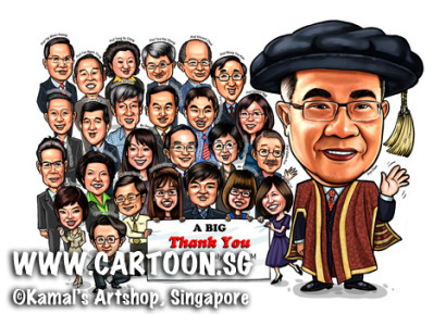 2014-06-05-Caricature-Singapore-digital-Unisim-Prof-farewell-gift-group-doctorate-phd-graduation-gaun-academy