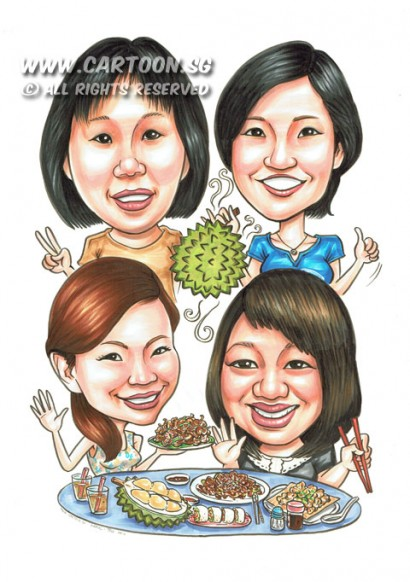 2014-08-22-Food-Table-Durian-Friends-Eating-Happy-Time-Glass