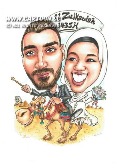 2014-09-05-Jannah-riding-camels-flower-bouquet-Egypt-pyramids-merlion