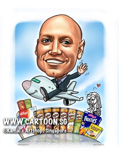 2014-12-1-Caricature-digital-farewell-gift-boss-merlion-areoplane-bye-pringles-kellogg-corn-flakes