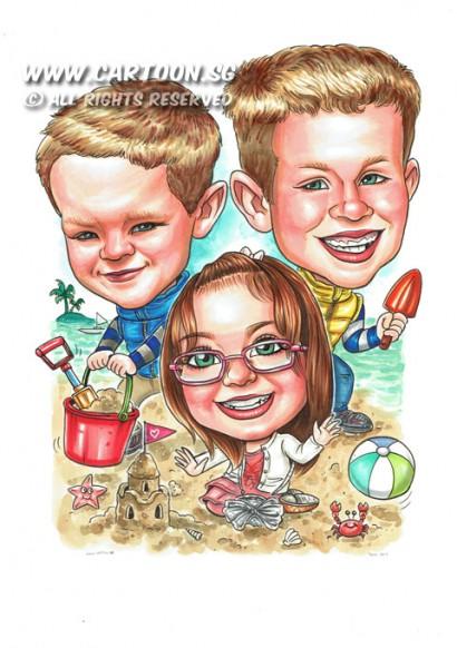 2014-12-12-Beach-Scene-Ball-Sand-Castle-Spade-Crab-Sands-Water-Flag-Friends-Childrens