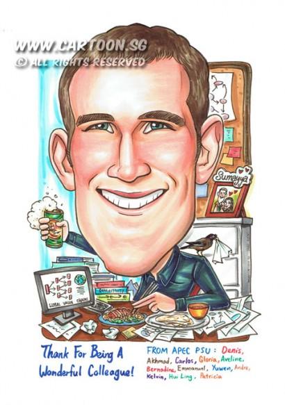 2014-12-12-Farewell-Colleague-Desktop-Books-Papers-Food-Pictures-Bird
