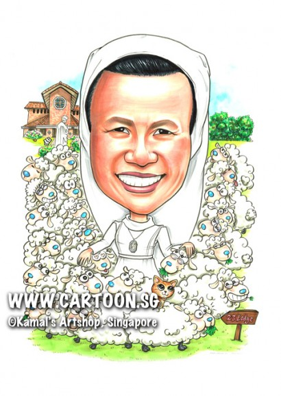 2014-12-17-Caricature-Singapore-Sheeps-Kitty-Church-23-Lodge-Gift-Love