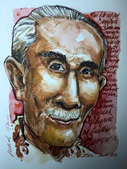 Caricature-famous-singaporean-Zubir-Said-composer