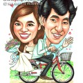 2015-01-013-Caricature-Singapore-wedding-attire-bicycle-love-flower-dress-sweet-vietnam