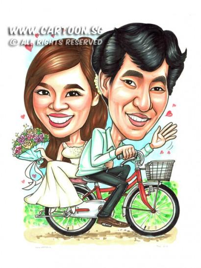 2015-01-013-Caricature-Singapore-wedding-attire-bicycle-love-flower-dress-sweet-vietnam
