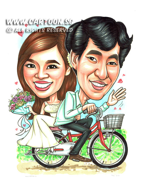 2015-01-013-Caricature-Singapore-wedding-attire-bicycle-love-flower-dress-sweet-vietnam.jpg