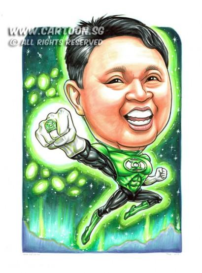 2015-01-22-Caricature-Singapore-boss-gift-superhero-green-lattern-fight-glow-power-space-cool-wow