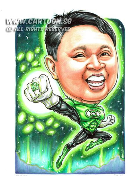 2015-01-22-Caricature-Singapore-boss-gift-superhero-green-lattern-fight-glow-power-space-cool-wow.jpg