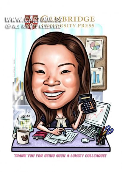 2015-03-04-Caricature-Digital-Gift-Colleagues-Office-Cambridge-University-Calculator-desk-acountant