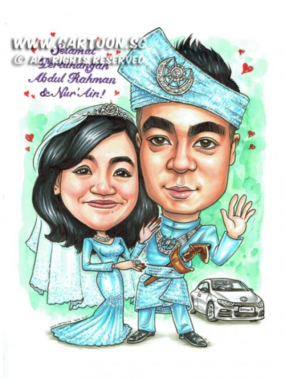 2015-03-05-Caricature-Singapore-Malay-Wedding-diamond-ring-volkswagen-tanjak-car-scirocco-keris-love-sweet