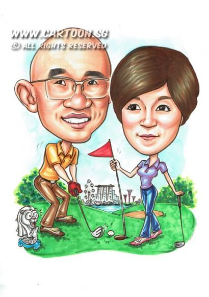 2015-03-17-SIngapore-Landmark-Golf-Greenery-MBS-Merlion-Couple-Young-Momento-Gloves-Flag