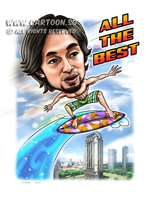 2015-03-24-Caricature-Digital-Singapore-Farewell-gift-parkview-building-surfboard.jpg