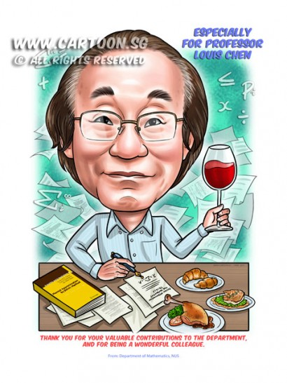 2015-03-30-Caricature-Singapore-Digital-farewell-gift-professor-math-NUS-food-books-bread-wine-glass