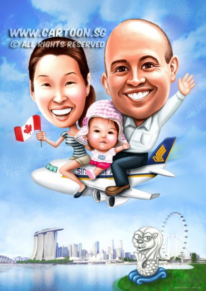 2015-04-06-Caricature-Digital-family-boss-farewell-gift-SQ-flight-mbs-canada