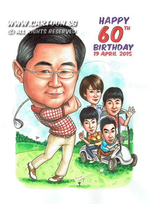 2015-04-16-Singapore-Caricature-60th-Birthday-Golf-Buggy-Family-Greenery-Grass-Wheels-Waving1.jpg