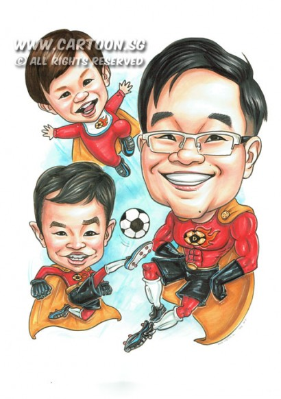 2015-04-27-Singapore-Caricature-Football-Superhero-Soccer-Boots-Spectacle-Flying-Happy-Family