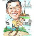 2015-05-04-Singapore-Caricature-Thailand-Golf-Merlion-MBS-Bottle-Coconut-Trees