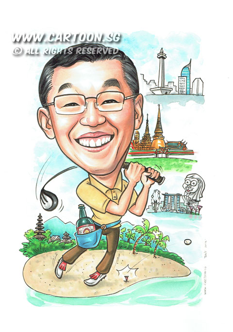 2015-05-04-Singapore-Caricature-Thailand-Golf-Merlion-MBS-Bottle-Coconut-Trees.jpg