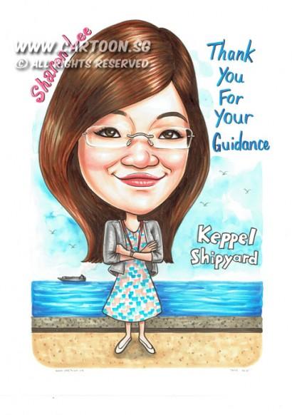2015-05-19-Singapore-Caricature-Keppel-Shipyard-Walkway-Skyline-Sea-Gift