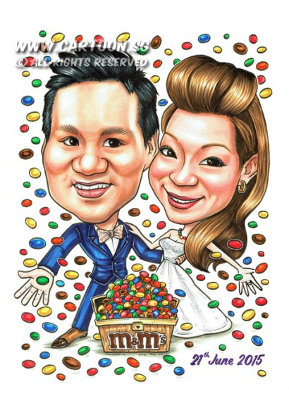2015-05-22-Caricature-Singapore-Wedding-couple-lovely-sweet-candy-m&m's-chest-box-pretty-chocolate