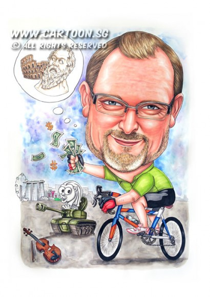 2015-05-22-Singapore-Caricature-boss-farewell-bike-dollar-money-rome-tank-merlion-violin