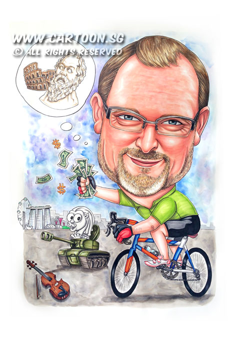 2015-05-22-Singapore-Caricature-boss-farewell-bike-dollar-money-rome-tank-merlion-violin.jpg