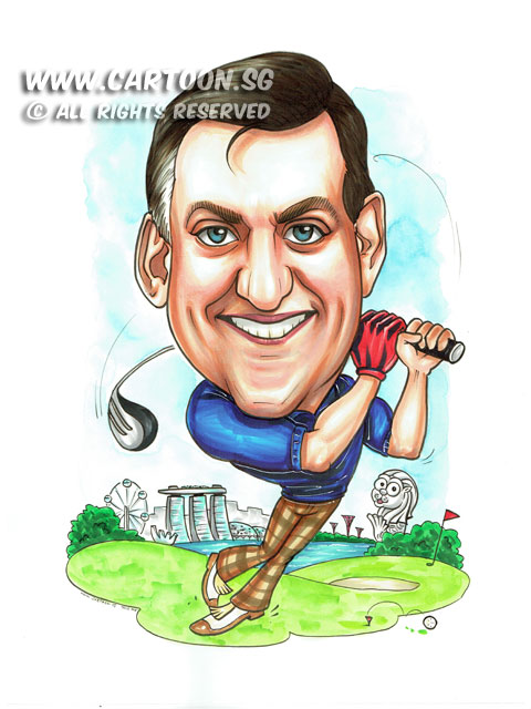 2015-05-27-Caricature-singapore-farewell-gift-merlion-golf-funny-swings.jpg