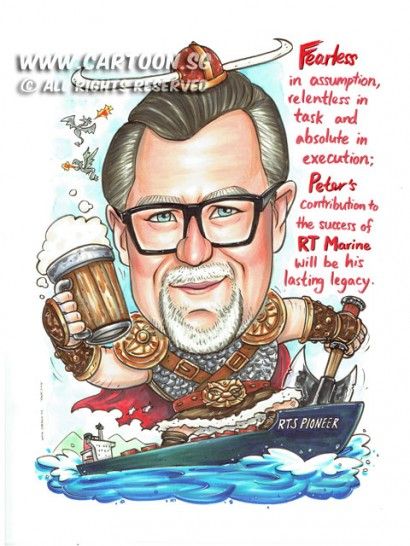 2015-06-10-Caricature-Singapore-RTS-pioneer-vessel-vikings-ship-farewell-gift-beer-axe-warrior-dragon-cool