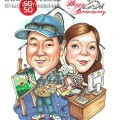 2015-06-11-Caricature-Singapore-couple-love-25th-anniversary-gift-artist-landscape-secretary-busy-paint-church