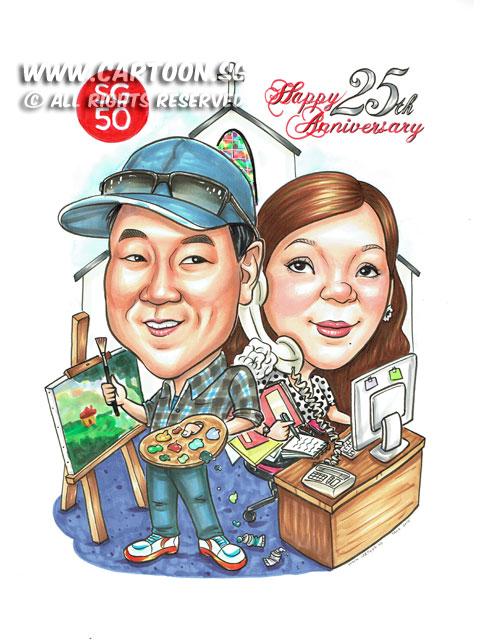 2015-06-11-Caricature-Singapore-couple-love-25th-anniversary-gift-artist-landscape-secretary-busy-paint-church.jpg
