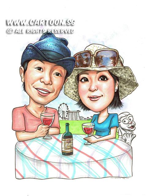 2015-06-17-Caricature-Singapore-Couple-merlion-wine-enjoy-summer-mbs.jpg