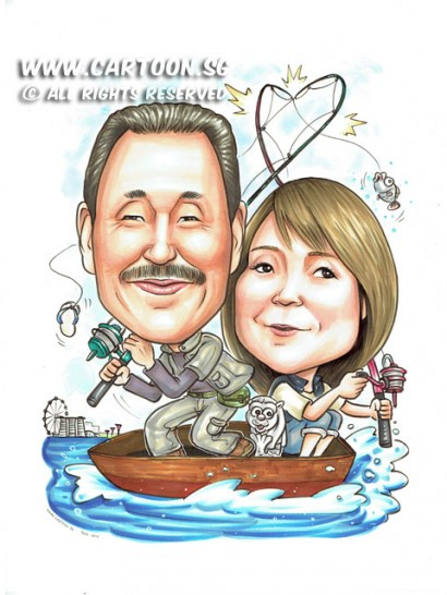 2015-06-17-Caricature-Singapore-mbs-merlion-fishing-boat-fish-funny