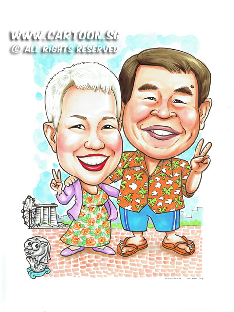 2015-06-17-Caricature-couple-v-sign-peace-merlion-mbs-japan-summer.jpg