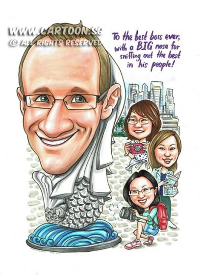 2015-06-19-Caricature-Singapore-Boss-gift-pretty-girls-camera-tourists-map-merlion