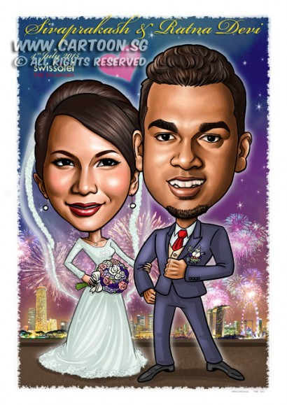 2015-06-22-Caricature-Singapore-digital-love-flower-fireworks-night-romantic-siva-wedding