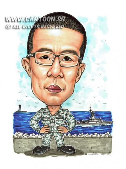 2017-02-06-Caricature-Singapore-SAF-Army-battle-ship-Navy-gift