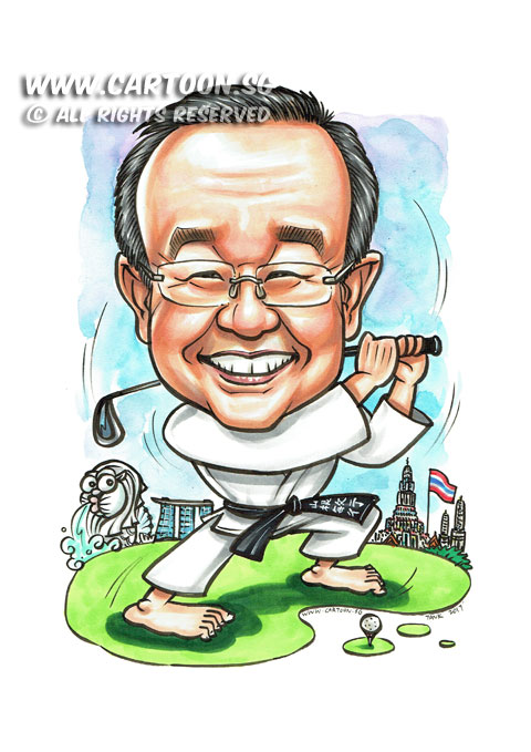 2017-02-07-Caricature-Singapore-golf-teakwando-uniform-kungfu-bangkok-thailand-martial-art-black-belt-farewell-gift.jpg