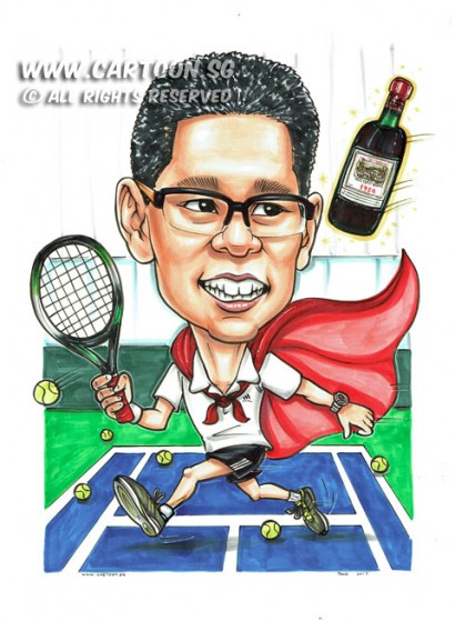 2017-02-10-Caricature-Singapore-sport-tennis-court-cpe-wine-gift