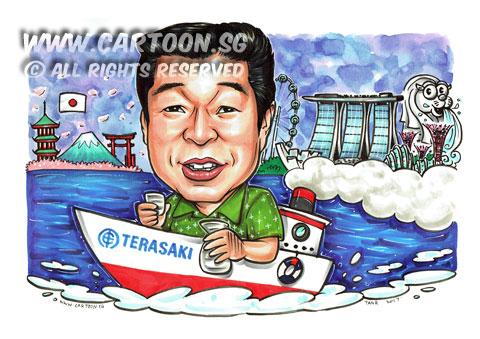 2017-02-13-Caricature-Singapore-Gift-farewell-ocean-ship-sake-japan-boss.jpg